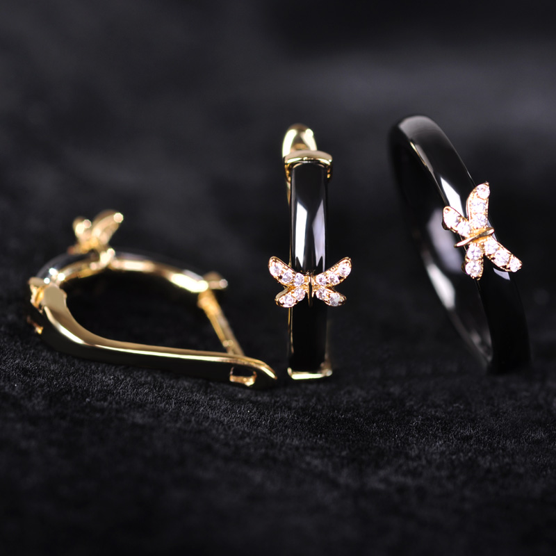 Upscale Zircon Black Ceramic Jewelry Sets Earrings Ring With Mini Butterfly Women Man Gold china Porcelain