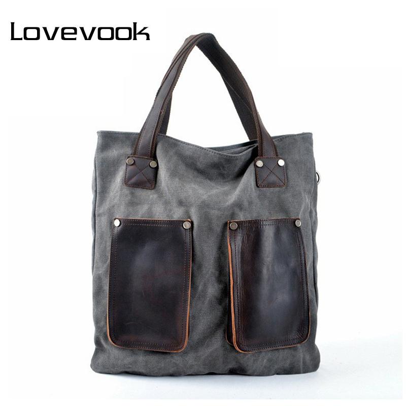 Prix pour LOVEVOOK marque femmes sac à main de haute qualité toile fourre-tout sac femelle de grande capacité sacs à main en cuir sacs à bandoulière