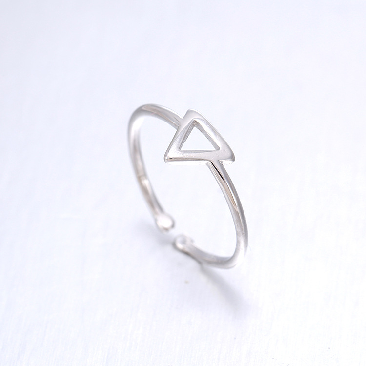 new arrivals 925 sterling silver rings silver geometric triangle ring open rings for girl women gift - Cheap Wedding Ring