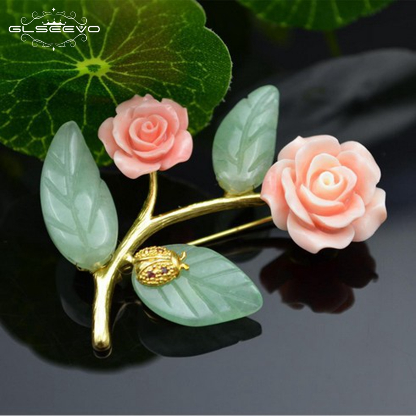 GLSEEVO Luxury Stone Aventurine Leaf Flower Brooches Party Gift Brooch Pins Dual Use Fine Jewelry For