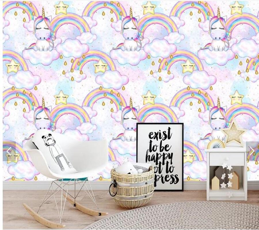 unicorn mural rainbow children pared infantil papel sofa fantasy wallpapers