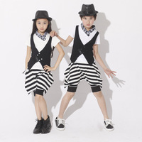Children's Hip Hop Dresses Boys Hip hop Suits Children's Jazz Dance Girls' Costumes New Style Stripes Skirts Singer Uniforms