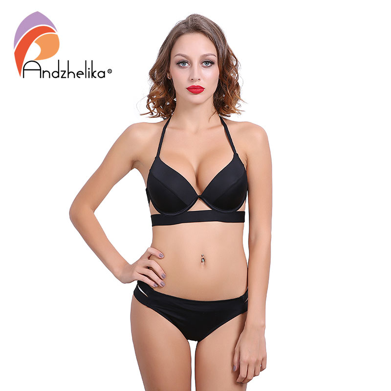 - Andzhelika Bikinis Women Black Bandage Swimsuit 2017 Sexy Push Up Swimwear Low Waist Bathing Suit Halter Bikinis Suit Swim-2785