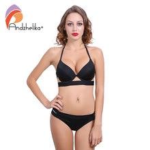 Andzhelika Bikinis Women Black Bandage Swimsuit 2018 Sexy Push Up Swimwear Low Waist Bathing Suit Halter Bikinis Suit Swim