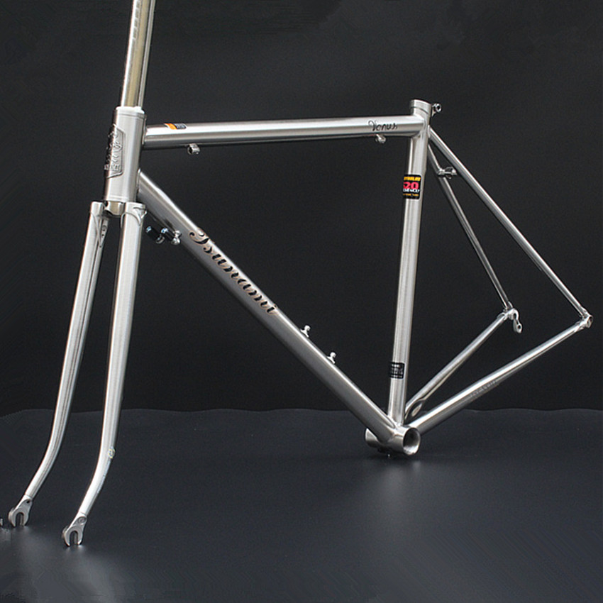 tsunami tsunami reynolds 520 steel brushed titanium road bike frame retro vintage bicycle cycle