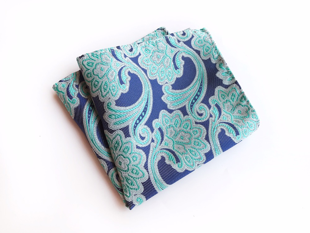 25*25 Cm Paisley Floral Men Silk Satin Pocket Square Handkerchief