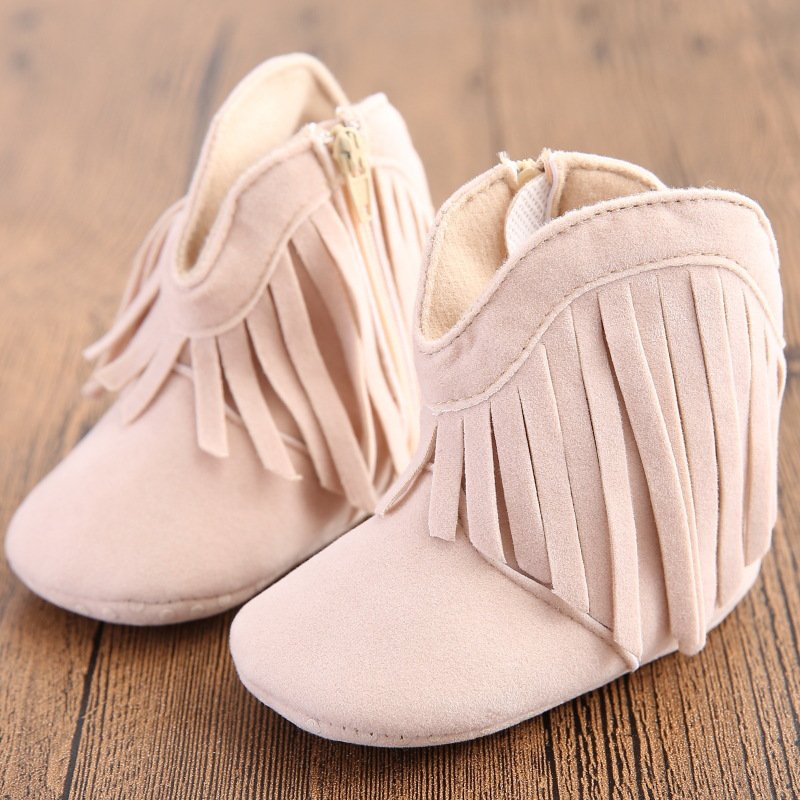 Newborn Baby Girl Boy Kids Prewalker Solid Fringe Shoes Infant Toddler Soft Soled Anti-slip Boots B