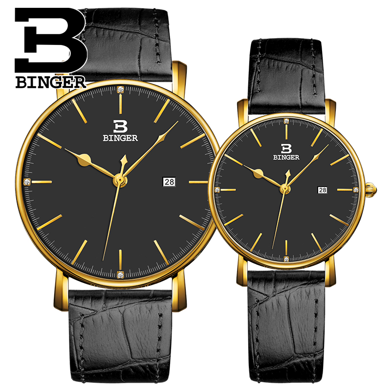 2017 New Brand Binger Quartz Watch lovers Wristwatches Women Men leather Dress Wristwatch Relogio Fashion Casual Quartz Watches 2016 new hot sale brand magic star black white analog quartz bracelet watch wristwatches for women girls men lovers op001