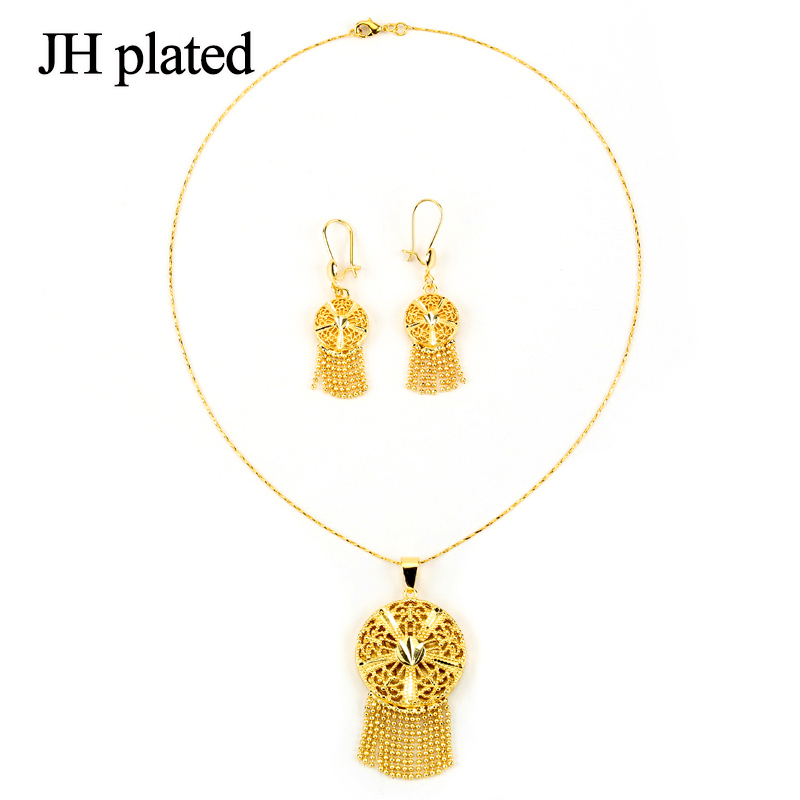 JHplated Ethiopia African round jewelery sets earring and Necklace is the best gift for women and girls wedding gift