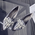 2016 Fall Rhinestone flat pointed shoes Korean leather shoes Spring Peas women shoes scoop