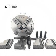 4 100mm 4 Jaw CNC Lathe Chuck Self Centering K12 100 K12 100 Hardened Steel for