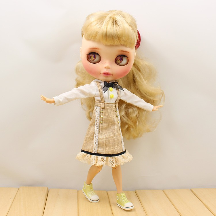 Neo Blythe Doll Strap Overalls Shirt With Bow 4