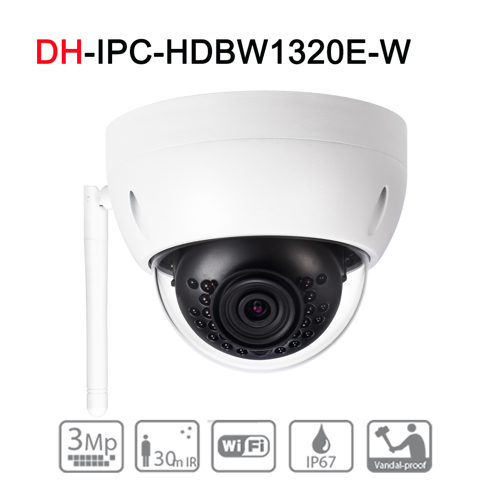 DH IPC-HDBW1320E-W 3MP IR Mini-Dome Wi-Fi Network Camera Upgrade English Verison Support Wi-Fi IR30M IP67 IK10 with POE Security original english ds 2cd2432f iw hik 3mp ir cube ip network microphone wireless camera poe wi fi pir detection
