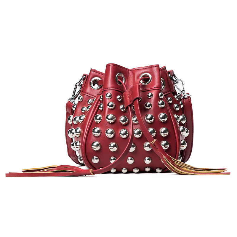 aa6eb60614 TekiEssica Hot Black Red Rock Rivets Style Mini Women Bucket Bag Shoulder  Bags Brand Designer Ladies Crossbody Messenger Bags-in Shoulder Bags from  Luggage ...