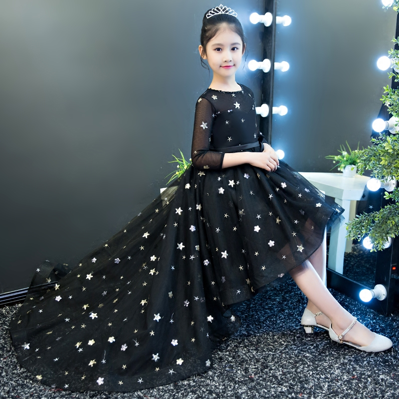Black Royal 2018 Ball Gown Long Tailing Princess Flower Girls Dress Luxury Mermaid Kids Pageant Dress For Birthday Wedding M42 2018 royal princess shoulderless flower ball gown dress long tailing sweet luxury backless kids pageant for birtyday party dress