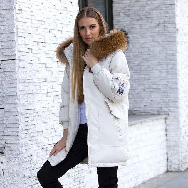 Female Jacket Large Real Raccoon Fur Winter Jacket Women 2018 Warm Thicken Hood Winter Coat Women's Cotton Down Parka Plus Size