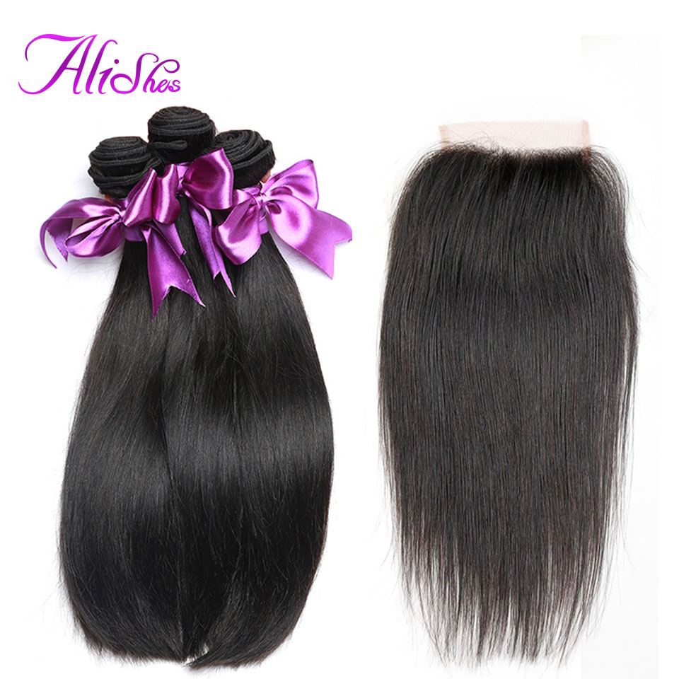 Alishes Straight Hair Brazilian Hair Weave 3 Bundles With Closure 100 Human Hair Bundle Deals With