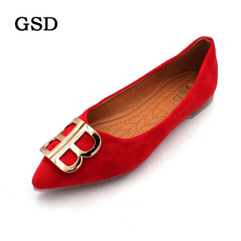 Classic Brand Shoes Women Casual Pointed Toe Red Oxford