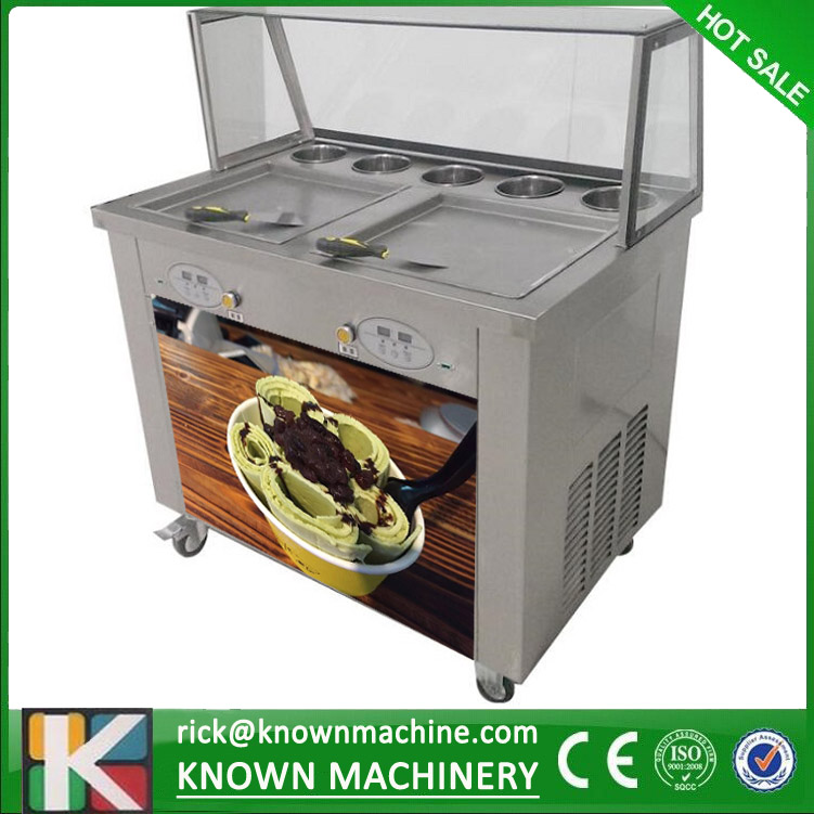 By sea free shipping The 110V double square pans with 5 topping tanks of fried ice cream roll machine with R410A Refrigerant  цена