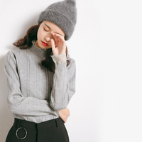 2018 Real Full Flat Knitted Cotton Women Sweater High Quality Women Winter Pullover Solid Knitted Sweater Top For Autumn Female