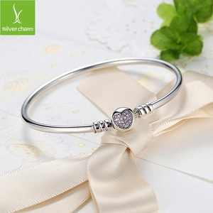 Image 4 - Pulsera de lujo con cadena de plata de ley 100% para mujer, brazalete esencial con abalorio, regalo de Navidad, 925