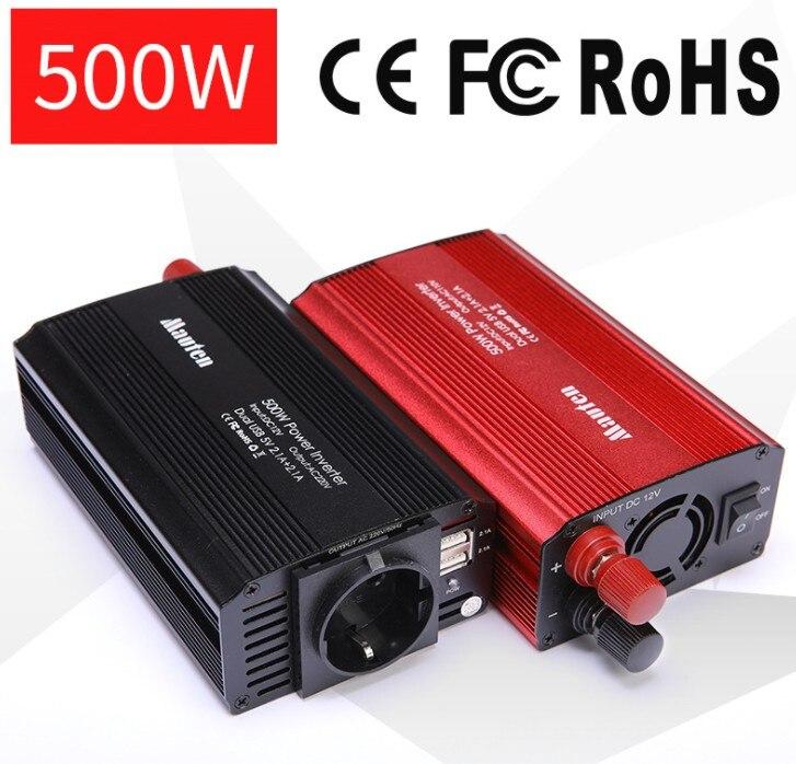 UE Inversor 2-USB Car Inversor 500 w Conversor de Proteção Anti-reverse