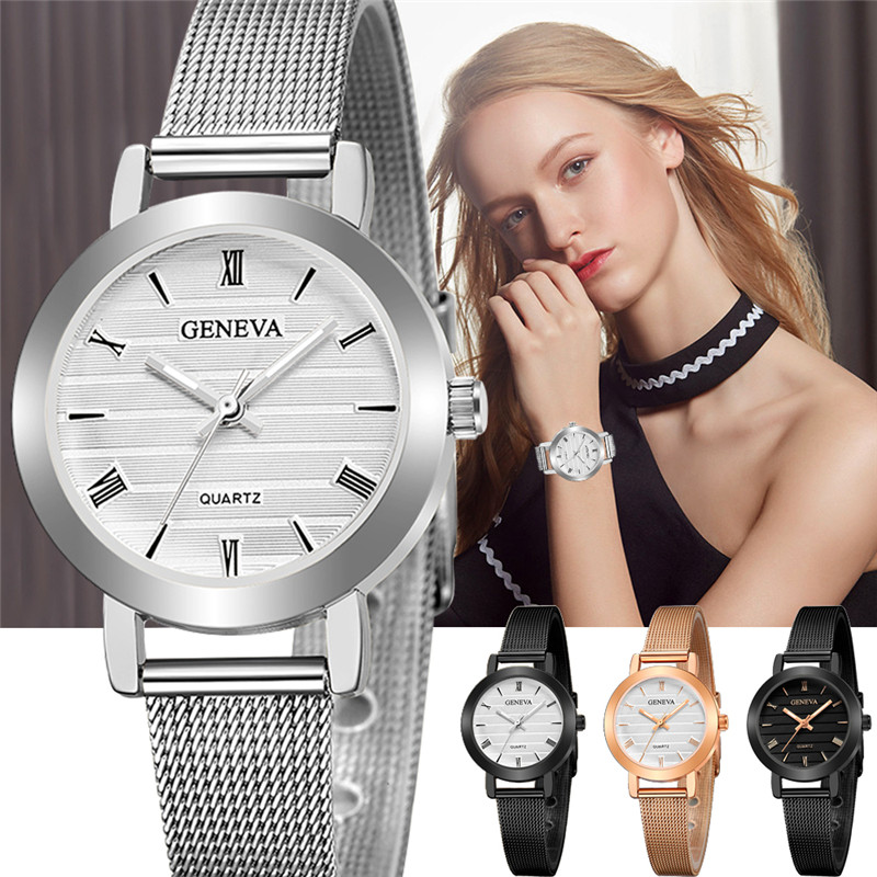 GENEVA Small Dial Watch Fashion Female Clocks Women Luxury  Stainless Steel Dress Quartz Wristwatch Elegant Lady Silver Watches