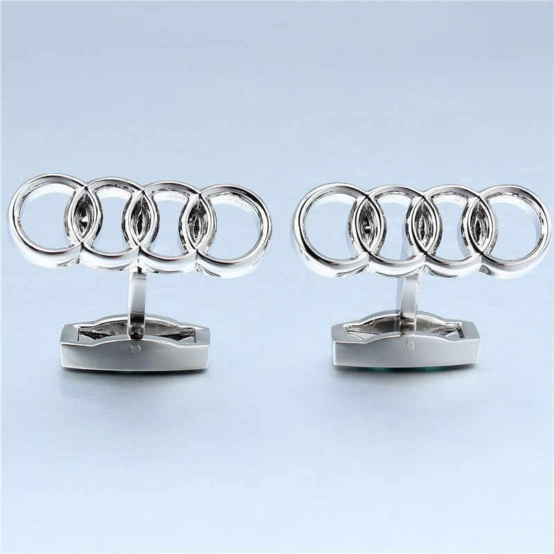 HAWSON מתכת רכב לוגו חפתים Mens צרפתית חולצה שרוול כפתור באיכות גבוהה רוז זהב חפתים תכשיטי עם תיבה