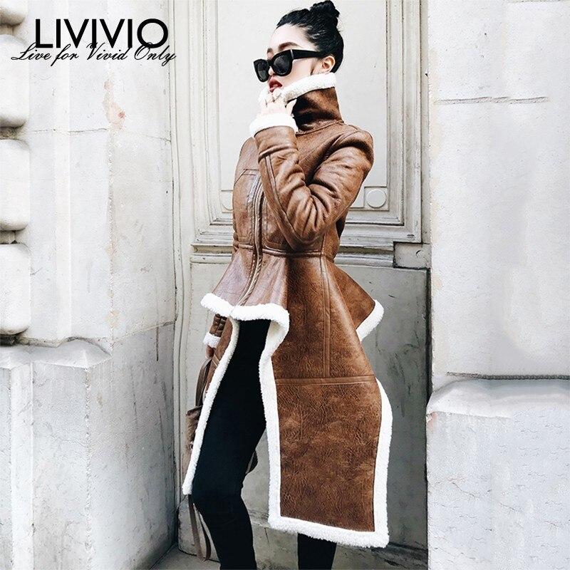 LIVIVIO Irregular Fleece Coats Pu Leather Turtleneck Zipper Midi Long Coat Winter Thick Female Large