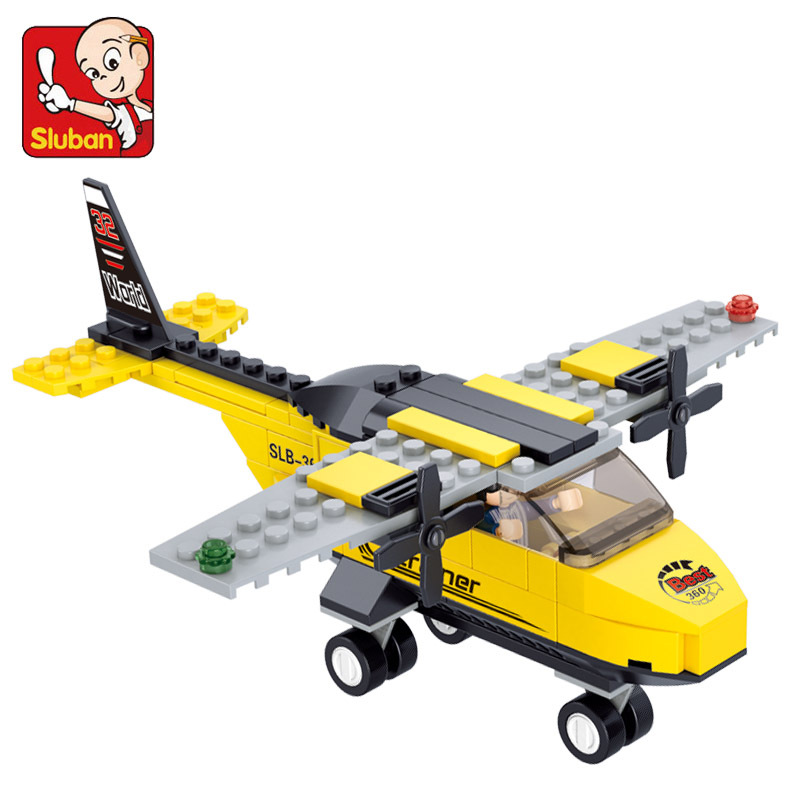 SLUBAN 110pcs/set Airplane Building Blocks Toys for Children Compatible with Brand City Plane Assembling Educational Toy Gifts 0367 sluban 678pcs city series international airport model building blocks enlighten figure toys for children compatible legoe