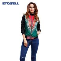 2017 autumn slim jacket women coat fashion zipper long sleeve stand collar jacket national baseball print outwears