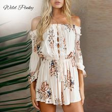 WildPinky Floral Print Summer Playsuit Women Long Sleeve Off Shoulder Short Romper Jumpsuit Boho Beach Sexy Lace Up Playsuit sexy off shoulder playsuit in random floral pattern