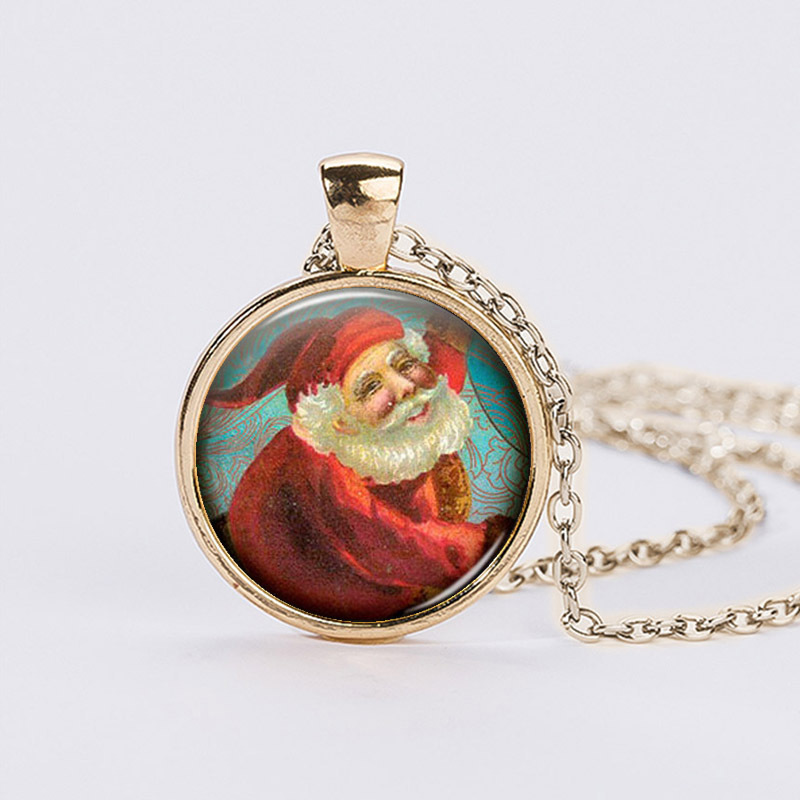 Santa Claus Patten Glass Dome Necklaces Pendants Handmade Silver Plated Chain Statement Necklaces Christmas Gifts For Children