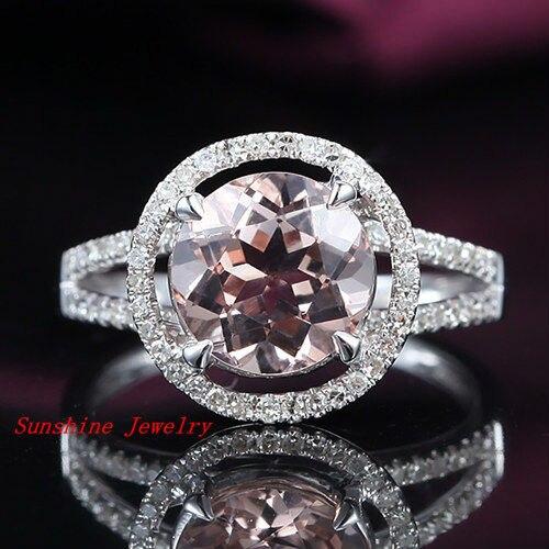 HALO 2.38ct Round Cut Morganite t Pave 14kt White Gold Wedding Ring