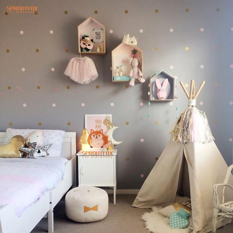 Diy extraíble polka dot bebé nursery dormitorio murales de papel tapiz de pared
