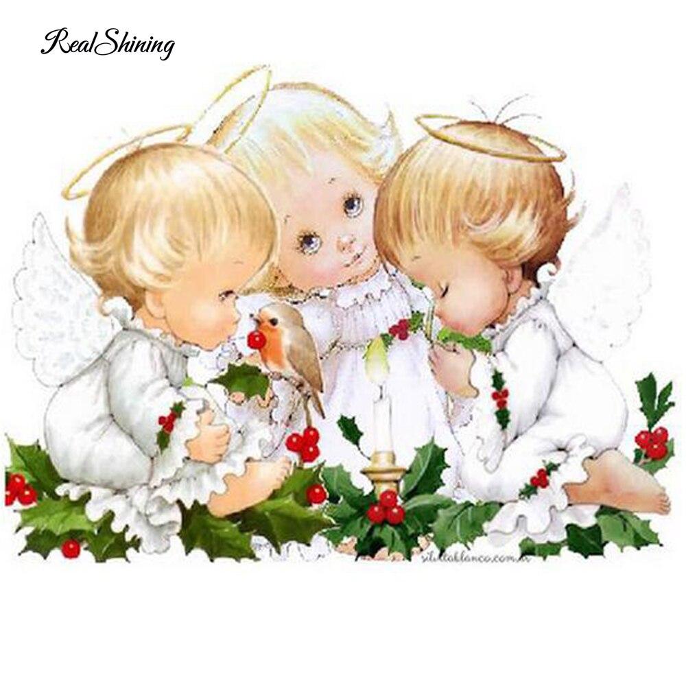 Realshining Diy Diamond Painting Cartoon Three Angels