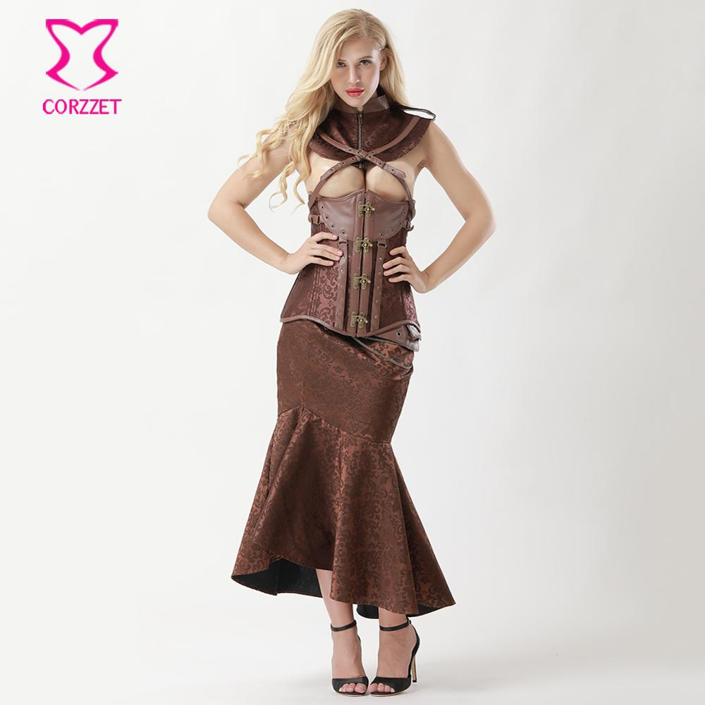 US $56.76 45% OFF Brown Steel Underbust Steampunk Dress Vintage Corsets And  Bustiers Plus Size Gothic Clothing Women Burlesque Skirt Corset Set-in ...