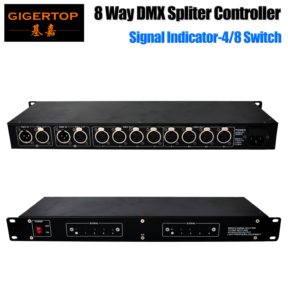 Freeshipping 4/8 Switchable Stage Lighting DMX Controller Spliter 120 Ohms DMX Terminating Resistor 3PIN/5PIN XLR Connector