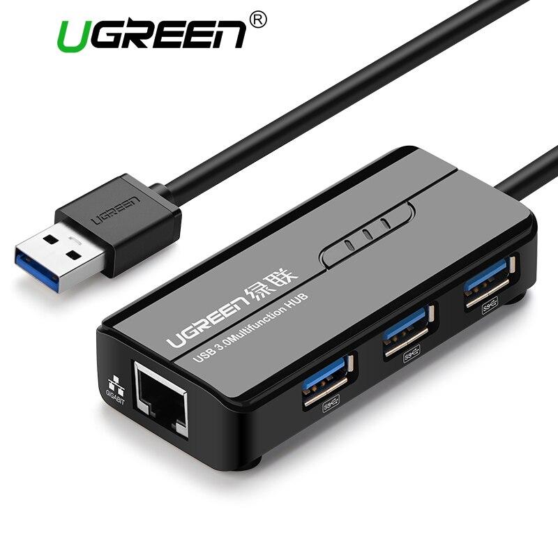 Ugreen USB 3.0 Ethernet Adapter 3 Port USB 2.0 HUB 1000Mbps Internet Usb to RJ45 Gigabit Network Card Lan Adapter Ethernet USB