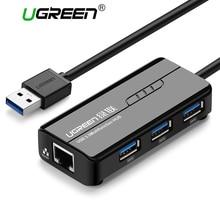 Ugreen USB 3.0 Ethernet-адаптер 3 Порты и разъёмы USB 2.0 концентратор 1000 Мбит Интернет USB к RJ45 гигабитный сетевой карты Lan адаптер ethernet usb