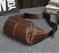 2017 Homens de Couro de Cavalo Louco Pacote Peito Corpo Cruz Ombro Mensageiro Bloco de Fanny Cintura Sling Sacos