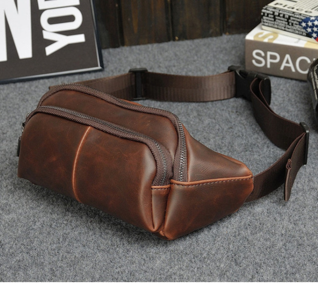 2017 Men Crazy Horse Leather Sling Chest Pack Cross Body Messenger Shoulder Fanny Pack Waist Bags