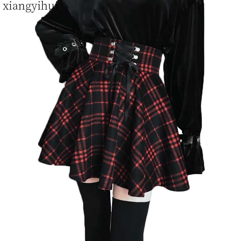 a9bff6c9a Gothic Lolita Skirt Women Ladies Winter Black Red Plaid Pleated Ball Gown  2018 New Arrivals High