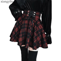 Gothic Lolita Skirt Women Ladies Winter Black Red Plaid Pleated Ball Gown 2019 Summer High Waist Lace Up Wool Skirt Plus Size