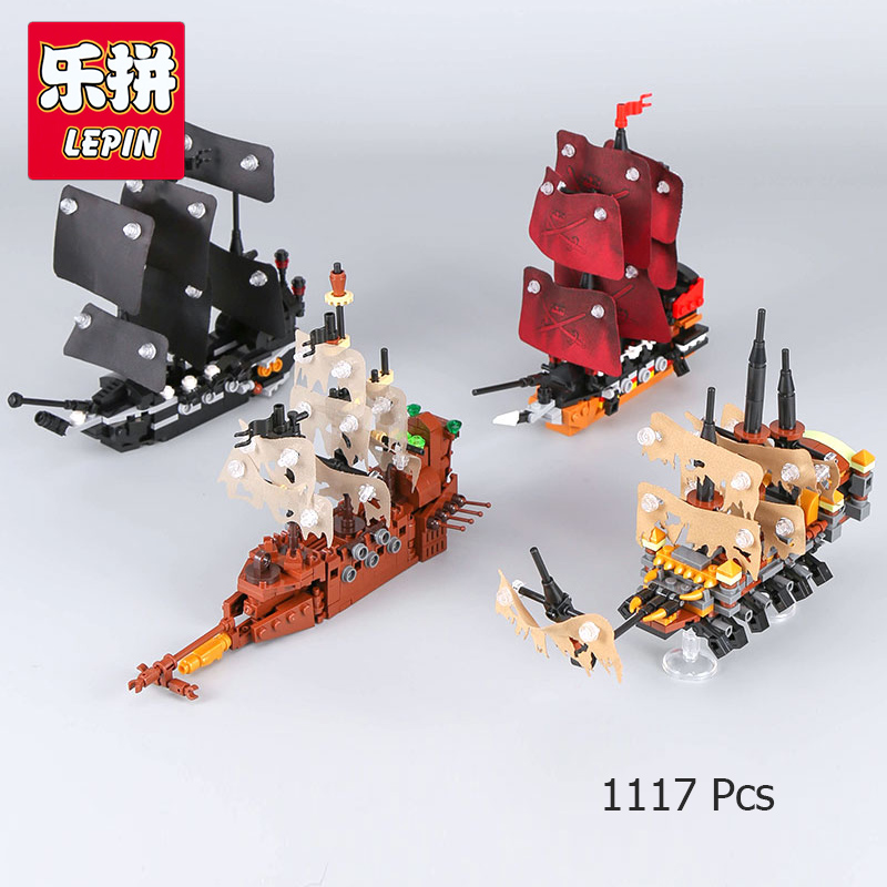 Lepin 03058 Pirates of Caribbean 4 In 1 Black Pearl Queen Anne's Revenge Silent Compatible With lego Mary Ship Building Blocks 2018 dhl lepin 16006 pirates caribbean ship the black pearl 16009 queen anne s revenge pirate ship building blocks set