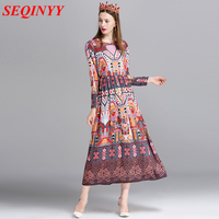Women Vintage Summer Dress 2017 New Arrival Geometry Abstract Print Long Sleeve A Ling Mid Calf Length Female Dresses