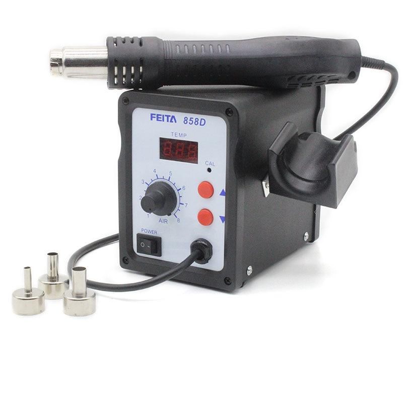 ФОТО Free shipping FT 858D Hot Air Gun SMD Rework Solder Station Digital Display Heat Gun Soldering Welding Repair with three nozzle