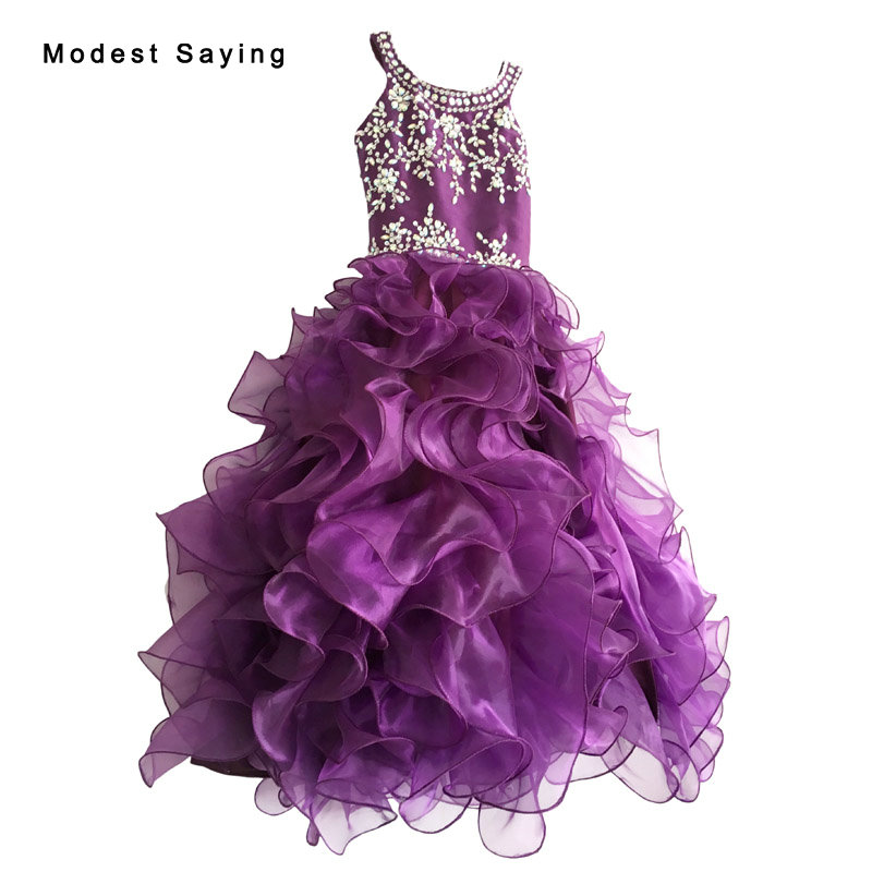 Lovely Purple Ball Gown Ruffled Beaded   Flower     Girl     Dress   2017 with Rhinestone Ankle Length Weddings Kids   Girl   Pageant   Dress   BF44
