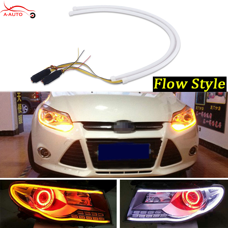 2 x <font><b>Audi</b></font> Style 60cm Car Sequential LED Flexible DRL Bar Headlight Strip Daytime Running Lights Turn Signal Switchback Amber Lamp