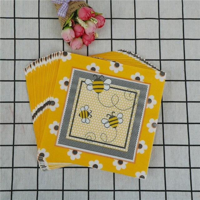 20 stks Vlinder Bee regenboog servetdocument tissue Wedding party Koffie winkel glas decor Bloemen vogel Servet Arabisch Bruid bruidegom